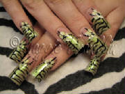 mixed print nail art; zebra and floral
