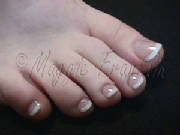 pink and white acrylic toenails