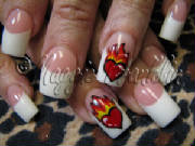 tattoo flaming heart nail art
