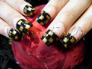 hand painted nail art, checkerboard