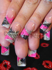rockstar nails in pink and black