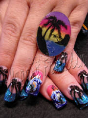 tropical beach sunset nail art