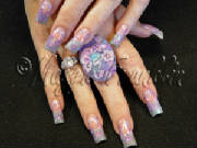 floral nail art with fairy ring
