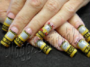 yellow school bus nail art
