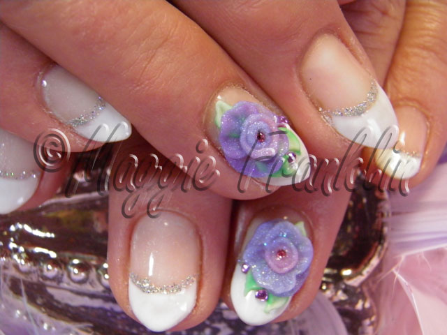 gel manicure with 3D flowers