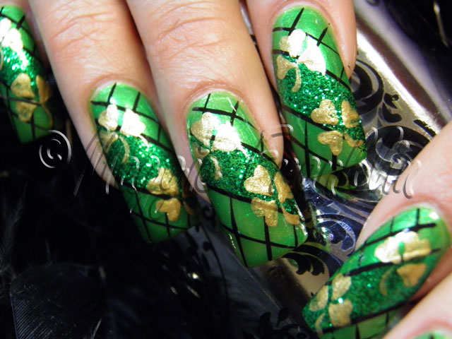 handpainted St. Patrick's Day nail art
