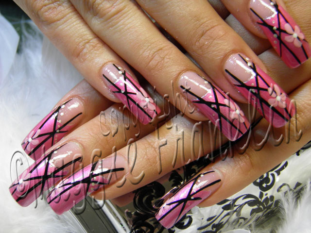 pink with bold lines nails